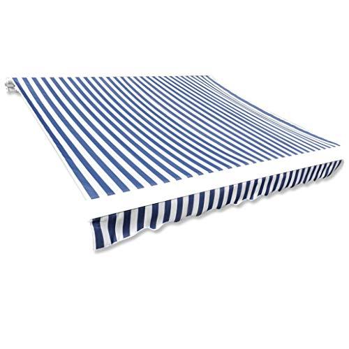 vidaXL Store banne en Toile Bleu et Blanc 4 x 3 m (Cadre Non Inclus)