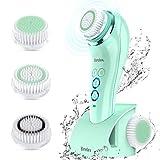 Cepillo Limpiador Facial Eléctrico - Brelax CS1219 Limpieza Sónica Impermeable IPX7+ 3 Cabezales, 6 Velocidades, Temporizador Inteligente, Carga Inalámbrica, para los Poros, Puntos Negros y Maquillaje