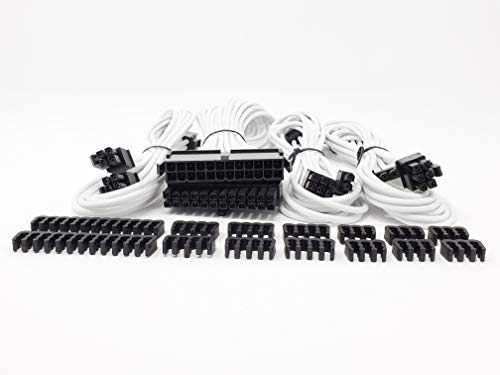 Micro CONECTOS, Inc. Kit de extensión de Cable PSU de Manga Premium, Blanco (F04-240W-KIT)