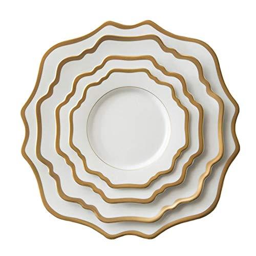 KCCCC Platos de Plato de Cena 4 Piezas de Porcelana de Hueso del vajilla del Restaurante del Filete del hogar Platos Platos de cerámica Servicio de Platos para cenas. (Color : White, Size : One Size)