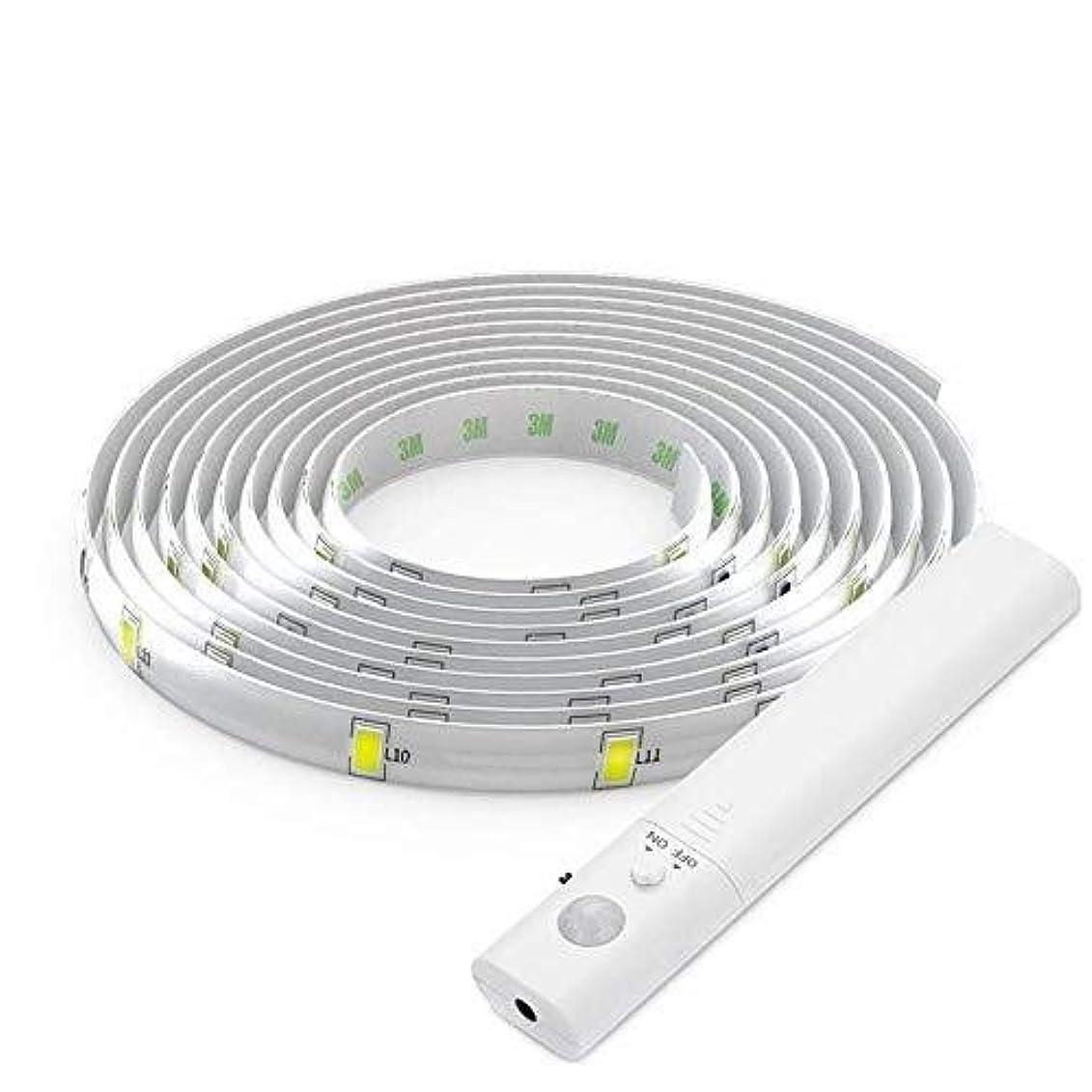 イデオロギー保持抵抗するHVTKLN モーションセンサーキャビネットライト、LEDライトバーキャビネットライト、柔軟な1M LEDライトストリップ/ 3000K暖かい白色光/バッテリー駆動LEDウォールライトキャビネット、階段、引き出し、キャビネット HVTKLN