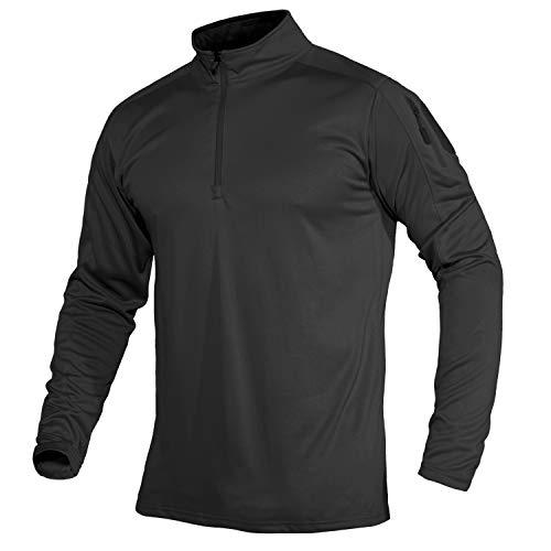 MAGCOMSEN Herren Langarmshirt Military Uniform Jogging Trainingsshirt Männer Outdoor Hemd Atmungsaktiv Wandern Trekking Shirt Polyester Kleidung mit Reißverschluss Schwarz L