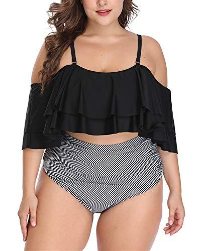 Wavely Damen Bademode in Übergröße, zweiteilige Rüschen, schulterfrei, mit hoher Taille, bedruckte Bikini-Hose - Schwarz - Large( US 12/14)