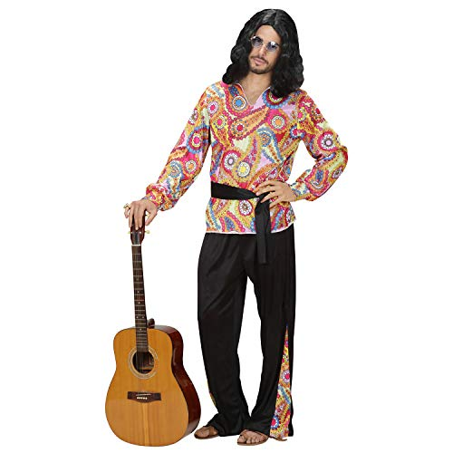 WIDMANN 76190 – Disfraz Hippie Dude, Camiseta, pantalón y cinturón, Flower Power, Disfraz, Carnaval, Fiesta temática