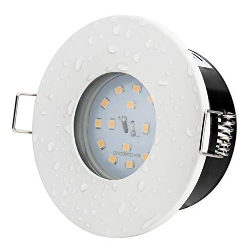 5Watt Bad Einbaustrahler Aqua 2.0 IP65 Weiss Matt Rund 230V 430Lumen 3000Kelvin Rostfrei Qualitätsleuchte Strahlwassergeschützt Feuchtraum Dusche Keller Vordach