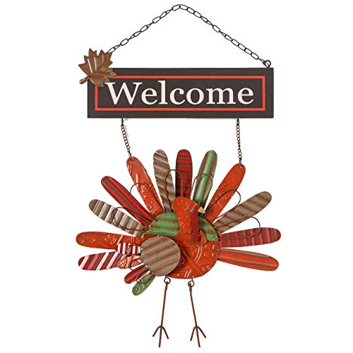 Ogrmar Vintage Metal Thanksgiving Turkey Wall Hanging Decoration Welcome Sign Front Door Ornament Festive Whimsical Halloween Christmas Decor