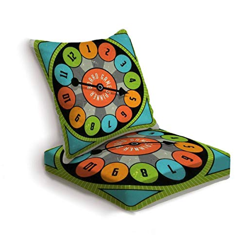 2-Piece Outdoor Deep Seat Cushion Set Vintage style spinner for board game with spinning arrow numbers and Back Seat Lounge Chair Conversation Cushion for Patio Furniture Replacement Seating Cushion