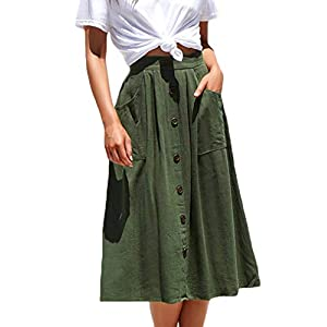 Women's Casual  A-Line Skirts High Waisted Midi Skirt
