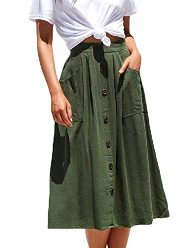 Naggoo Women's Casual Button Front High Waist A Line Midi Skirt with Pockets(M,Army Green)