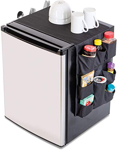 Smart Design Mini Fridge Organizer w/ 12 Pockets - Durable Polyester Material - Stores Pantry Items, Cutlery, Utensils, Bottles, Plates, & More - Home & Dorm Organization (53.5 x 12 Inch) [Black]