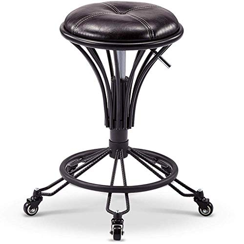 NUBAOzy Stool Chair with Wheels,Beauty Stools with Green PU Synthetic Leather Seat,Adjustable Height 43-58 cm,Supported weight 160 Kg,Straddle Stool with Backrest for Home,Computer Chair Adjustable He