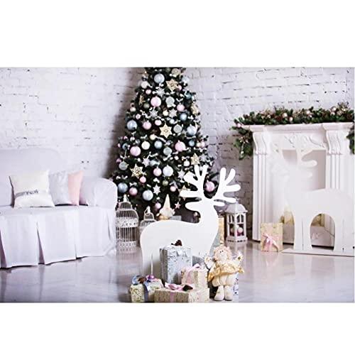 Feliz árbol de Navidad Chimenea Ciervos Regalo Juguete niño Aburrido Retrato Bombilla fotografía Fondo Estudio fotográfico-250x180cm