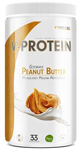 Vegan Protein Pulver - V-PROTEIN, 1 KG | Pflanzliches Eiweißpulver auf Erbsenprotein-Basis | 78,6{01a9d63660ac6e3569140da4c2aabe107223e805f391e3e9dcdb83d42f953426} Eiweiß-Gehalt | Hohe Wertigkeit | Protein-Shake speziell zum Muskelaufbau | ERDNUSSBUTTER