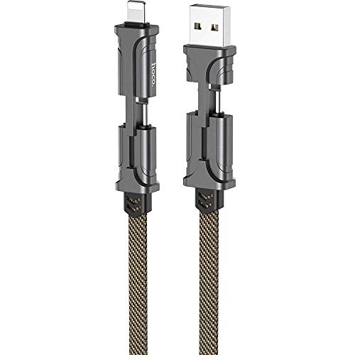 HOCO 4 in 1 3A Fast Charging Cable USB to Type C Metal Data Sync Cable PD Quick Charge USB-C to Type-C Wire for Samsung Galaxy Note 10 9 8 S10 S9 S8 Plus for iPhone 11 Pro Max XS (Black& Brown)