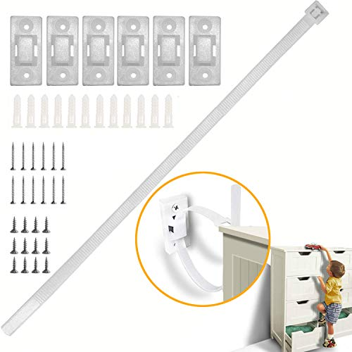Adjustable Anti-tip Furniture Strap (6 Pack) | Safety Furniture Wall Anchors For Baby Proofing | Secure Bookshelf, Cabinet, Dresser, TV, Wardrobe from Falling…