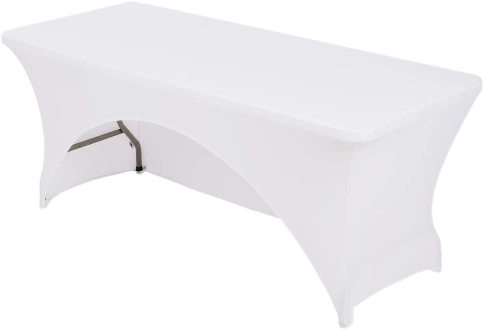 Courier shipping free HAORUI 5 ft. Cash special price White Rectangular Spandex Table Cover Fit Open Back