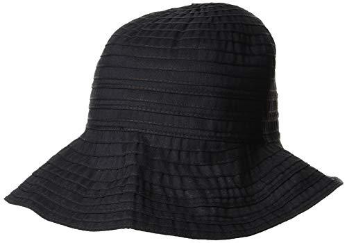 [ムーンバット] marylia マリリア 婦人 ポケッタブル たためる帽子 スピンドル付き ゴム入りハット ツートン日焼け対策 熱中症帽子 紫外線対策 旅行 トラベル 軽い 小顔効果 UV対策 レディース ブラック 日本 頭囲:約57.5�p (日本サイズ