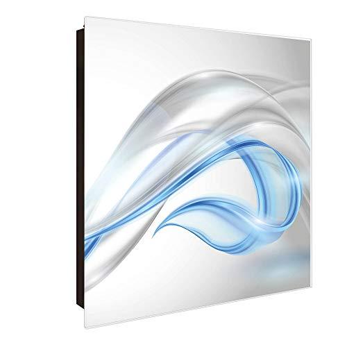 banjado Großer Schlüsselkasten aus Glas | Schlüsselbox mit 50 Haken | beschreibbare Glastür Scharnier Rechts | als Magnettafel nutzbar | Schlüsselaufbewahrung 30cm x 30cm | Motiv Blauer Schleier