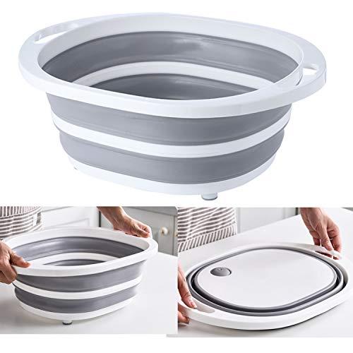 Fregadero de camping portátil 3 en 1, tabla de cortar multifuncional para cocina, lavado de verduras, frutas, cestas de drenaje para viajes, acampadas al aire libre (gris redondo)
