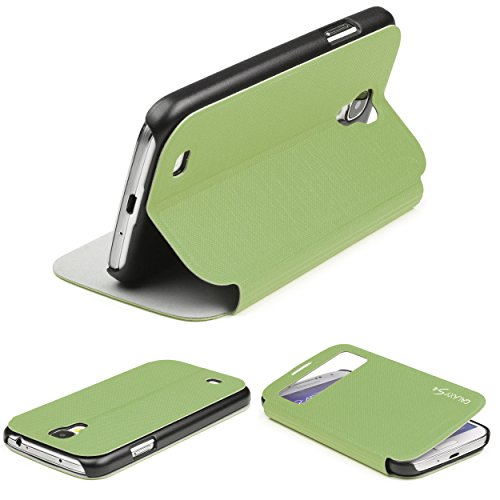 Urcover Custodia Wallet per Samsung Galaxy S4 Mini | Flip Cover con Finestra S-View | Wallet Case Rigida con Supporto Stand | Portafoglio Libro in Verde