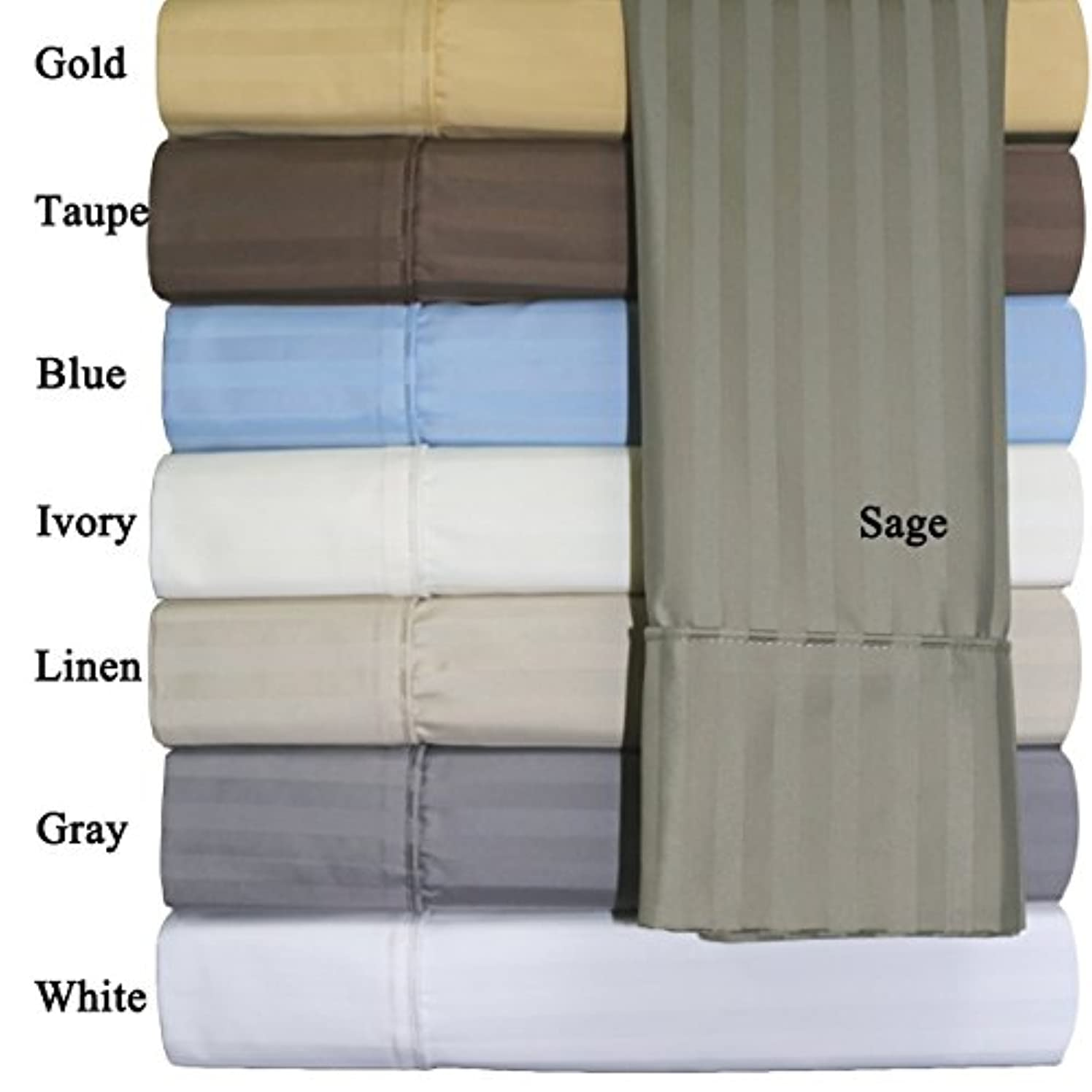 King (Beige Striped) Cotton-Poly-Blend Wrinkle-Free Sheets 650-Thread-Count Sheet Set