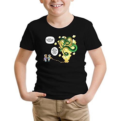 Okiwoki T-Shirt Enfant Noir Dragon Ball Z - DBZ parodique Shenron et Les pétanqueurs Marseillais : La Pétanque, C'est sacré ! (Parodie Dragon Ball Z - DBZ)