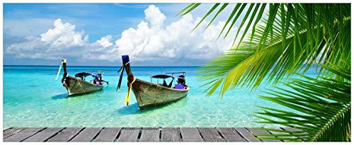 Wallario Acrylglasbild XXL Sonnenboot in der Karibik - 80 x 200 cm in Premium-Qualität: Brillante Farben, freischwebende Optik