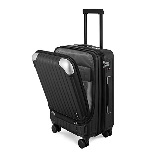 LEVEL8 Luggage Hardside Suitcase PC+ABS Spinner Built-in TSA Lock, Carry on 20' (Black)