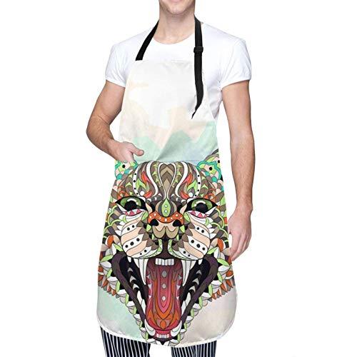 Delantal de Cocina con Fondo de Acuarela de Gato Lynx de Caracal con Bolsillo, Delantal Ajustable con Babero, Delantales de Chef para Hombres, Mujeres, Cocina, Pintura para Hornear