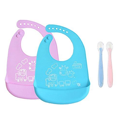 INCHANT bebé de silicona babero que - a prueba de agua, ajustables, enrollar baberos de alimentación del niño con silicona de cucharas, 2 x 2 x baberos, cucharas
