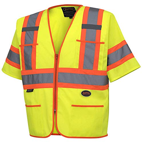 Pioneer High Visibility Tricot Sleeved Safety Vest, Reflective Tape, 4 Pockets, Yellow/Green, Unisex, L, V1023560U-L