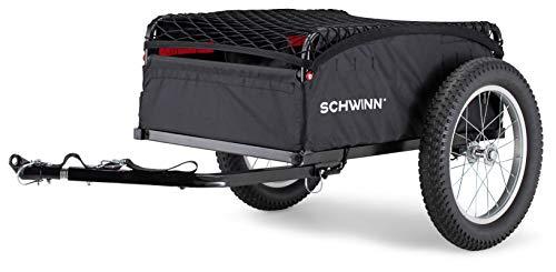 Schwinn Porter Cargo Bike Trailer, Max Weight 100 lbs, Elasticized Mesh Net, Large Knobby Tires, Black