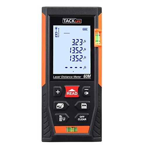 Telémetro Láser, TACKLIFE Profesional Metro Laser 60m, Precisión + - 1.5mm, Pantalla Retroiluminada LCD, m in ft, 30 Datos, Distancia, Área, Volumen, Pitágoras, Protección IP54, Niveles de Burbuja