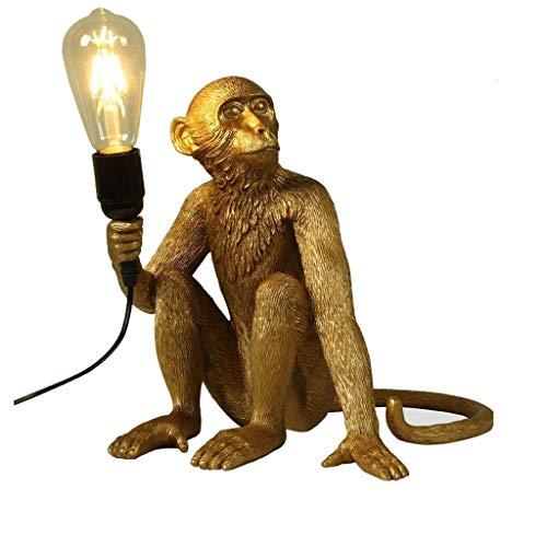 Moderne Affe Tischlampe kreative Harz Sitzen Affe Nachttischlampe Wohnzimmer Schreibtisch Lights Industrie LOFT Tier Restaurant Lighting (Color : Gold)