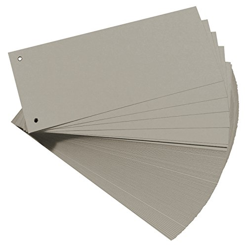 2er Pack (2 x 100 Stück) Trennstreifen grau gelocht rechteckig Trennblätter Ablagestreifen Aktenstreifen Aktenschilder