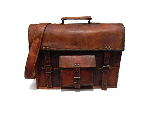 """Fastyl Elvi - Borsa Messenger in vera pelle con tracolla, da uomo o da donna, stile vintage, per notebook da 15"""" (38,1 cm), realizzata a mano, colore: marrone"""