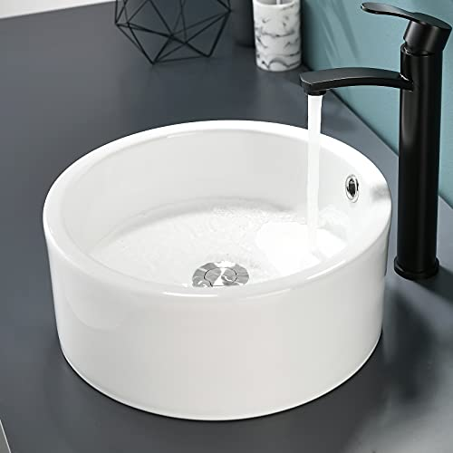 VALISY Modern 14x14 Inch Porcelain Ceramic Countertop Small Round Bowl White Bathroom Vessel Sink, Bath Cabinet Vanity Lavatory RV Hand Wash Above Counter Top Basin Sinks