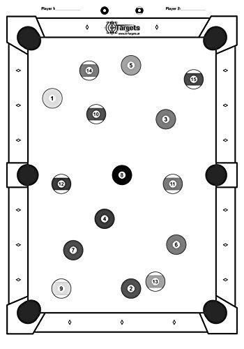 X-Targets Große Zielscheiben Billard / 53x84 cm/Papier 120g/m² (5 Stück)