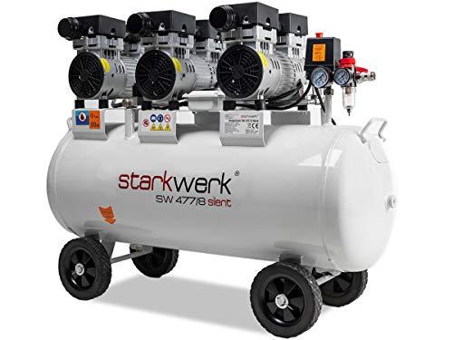 Starkwerk Silent Druckluft Kompressor SW 477/8 Ölfrei 100L Kessel Flüsterkompressor - 3