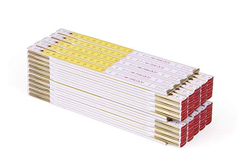 Metrie™ PERFEKT 10 Zollstock/Zollstöcke - Gliedermaßstab | Maßstab - 2m - Weiß/Gelb - Duplex Teilung, Hergestellt in der EU - 10 stück