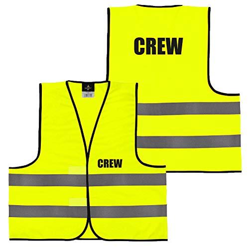 Shirt-Panda Warnweste · Gelb Orange · beidseitig Bedruckt auf Brust und Rücken · Ordner, Security, Brandschutzhelfer · große Auswahl · Reflektionsstreifen · 024 Crew (Gelb) XXL