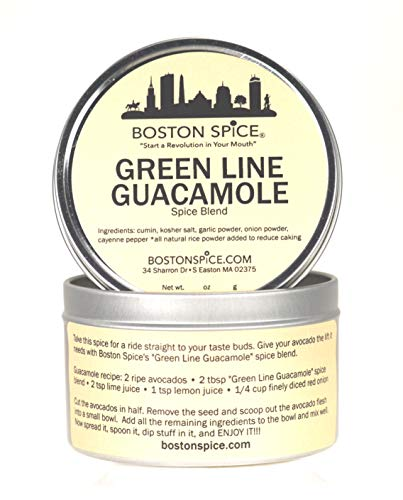 Boston Spice Green Line Handmade Guacamole Seasoning Blend To Mix with Fresh Avocados to Make Wicked Awesome Potato Chip Vegetable Dips Sandwich Pita Bread Spreads (Approx 1 Cup of Spice in Metal Tin)