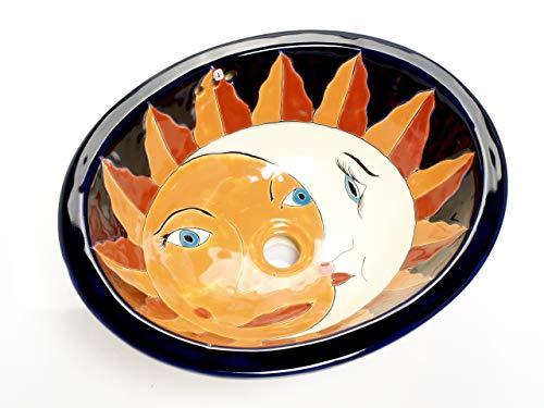 Juanita Talavera Vasque Mexicain – Cerames | Lavabo encastrable 44,5 x 36 x 13 cm | Lavabo ovale pour salle de bain, toilettes, chambre d'hôtes