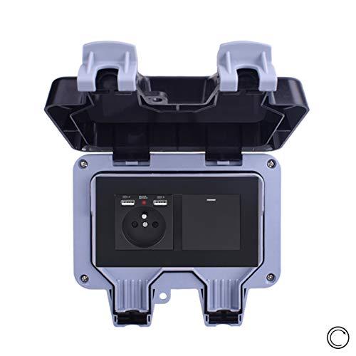 Cubierta impermeable IP66 impermeable Outdo enchufe de pared estándar con 2 puertos de carga USB + 1 interruptor de contacto momentáneo interruptor de botón impermeable