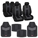 BDK AutoSport Full Set Combo All Protective Seat Covers (2 Front 1 Bench) with Heavy-Duty All-Weather Rubber Floor Mats (4 Mats) for Car Auto – Sedan Truck SUV Minivan, Charcoal