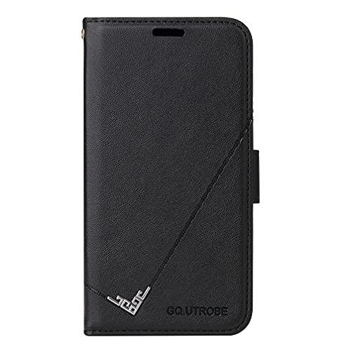 zimisu Schutzhülle für Samsung Galaxy M31s, Brieftaschenformat, echtes Leder, Klapphülle mit TPU, stoßfest, Standfunktion, RFID-Blockierung, Schwarz