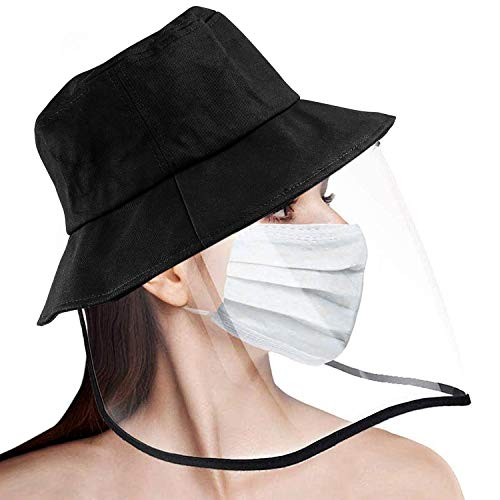 Kupton Women Protective Bucket Hat with Safety Face Shield, Full-face Protection Anti Saliva Fog Dust UV Sun Hat for Women