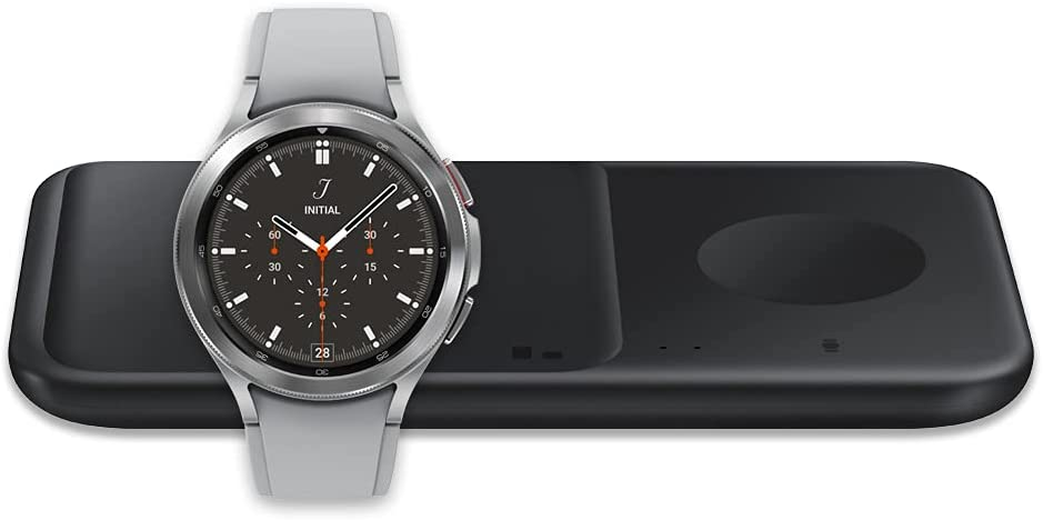 Samsung Galaxy Watch 4 Classic 42mm Smartwatch Bluetooth, Silver (US Version) with SAMSUNG Wireless Charger Fast Charge Pad Duo (2021), Black