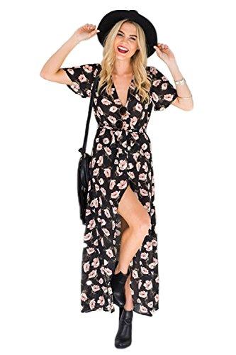 MisShow Strandkleid Damen Bohemian Blumendruck Sommerkleid Frauen
