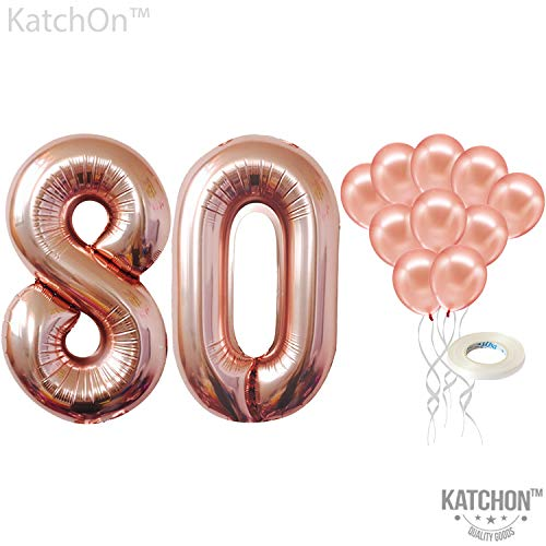 Rose Gold 80 Number Balloons - Large, 8 and 0 Mylar Rose Gold Balloons, 40 Inch | Extra Pack of 10 Latex Baloons, 12 Inch | Great 80th Birthday Party Decorations| 80 Year Old Rose Gold Party Supplies